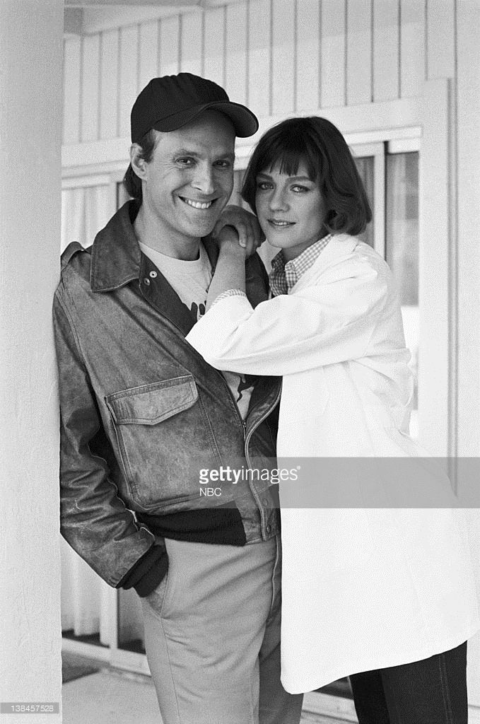 TEAM -- 'Bounty' Episode 22 -- Aired 4/2/85 -- Pictured: (l-r) Dwight Schultz as Capt. H.M. 'Howling Mad' Murdock, Wendy Fulton as Dr. Kelly Stevens