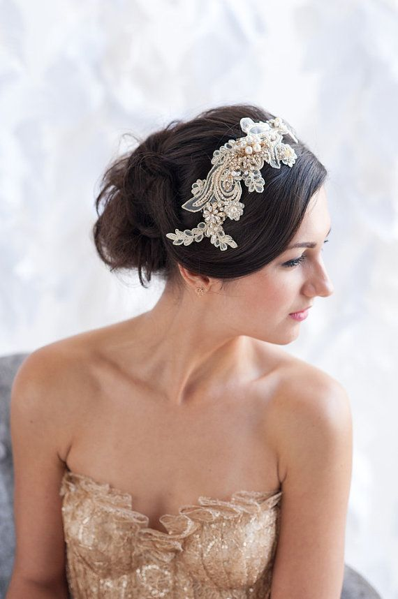 Gold lace headpiece by TessaKim on Etsy, $195.00