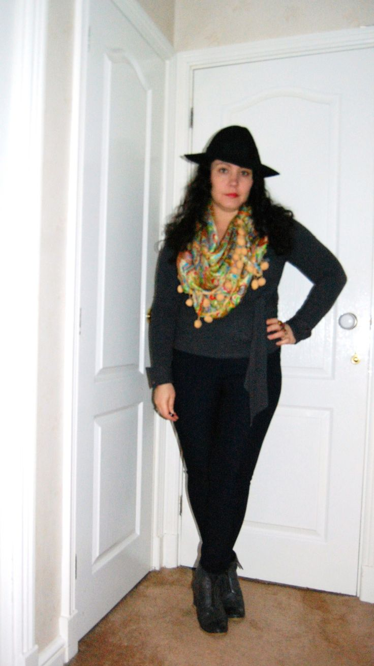 OOTD Pachacuti hat, vintage scarf and trousers from Oxfam