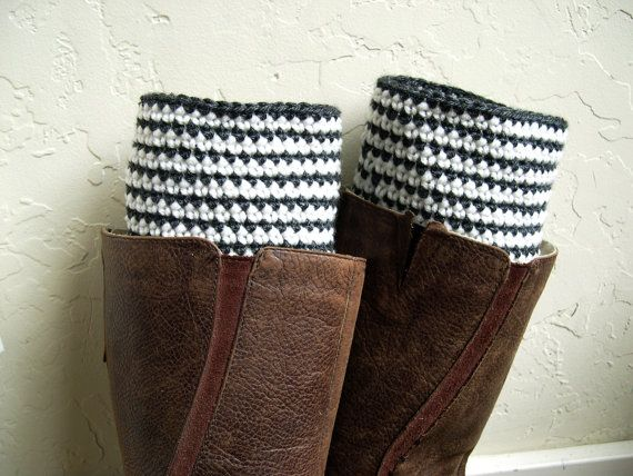 Stripes Boot cuffs  beige gray Crochet Boot by MaryKCreation, $32.00