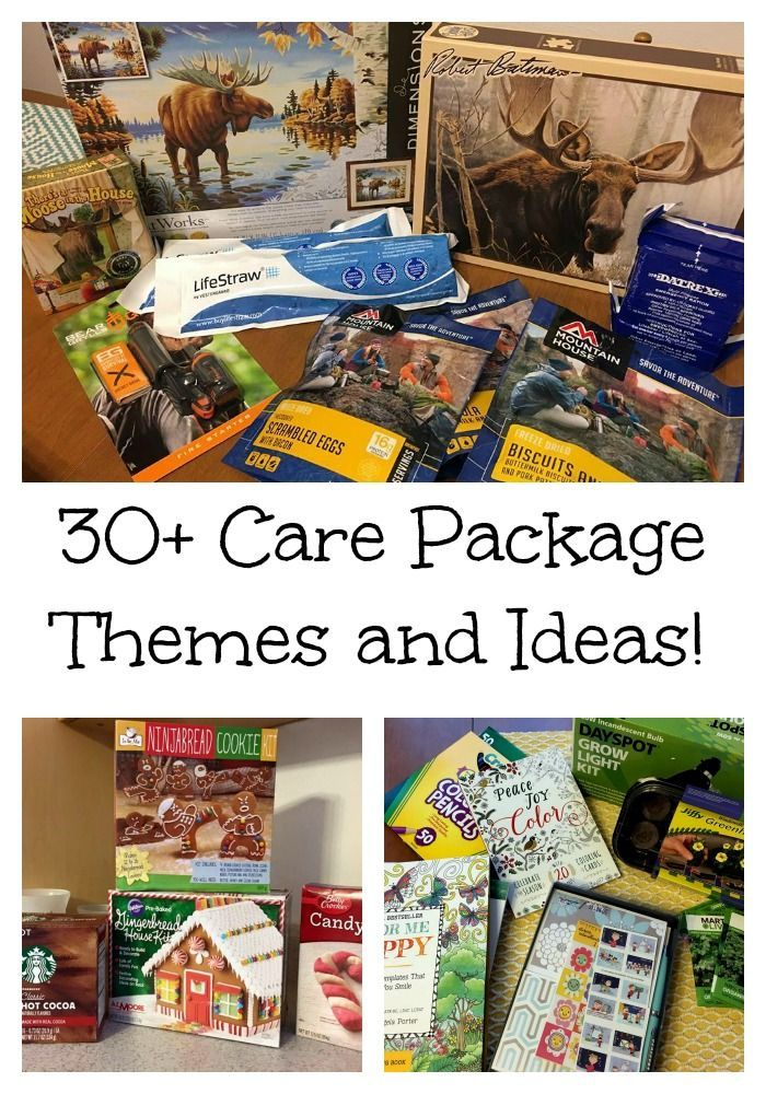 30+ care package theme ideas! Great for military, moving, new baby, new mom and more.