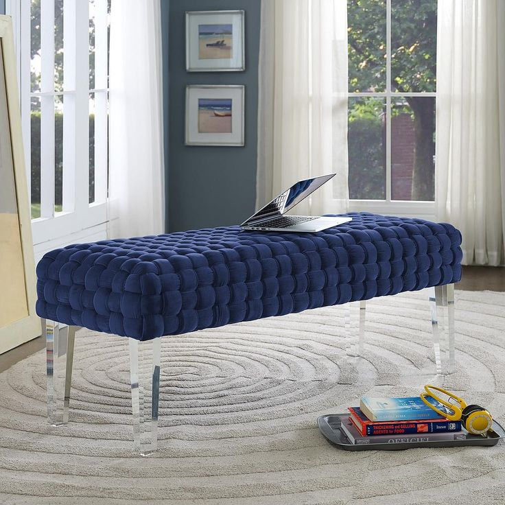 sal woven navy velvet bench tov furniture - Tov Furniture