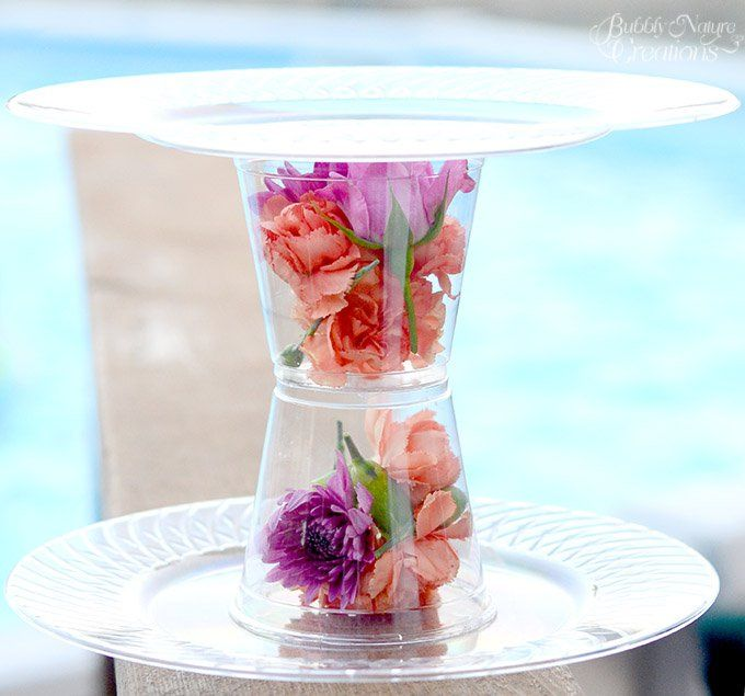 I love how these Fresh Flower Dessert Stands turned out! All you need is some hot glue, plates, cups and fresh flowers!