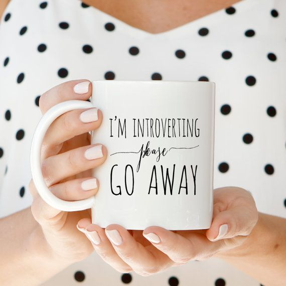 Coffee Mugs I'm Introverting Please Go Away by PaperBerryPress