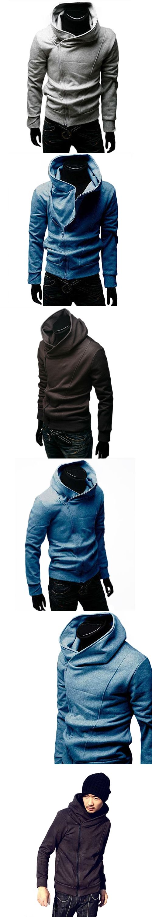Hot British Style Men's O-Neck Casual High Collar Fashion Personality Stayed Hooded Autumn Jacket Coat  5JEJ 7GNR