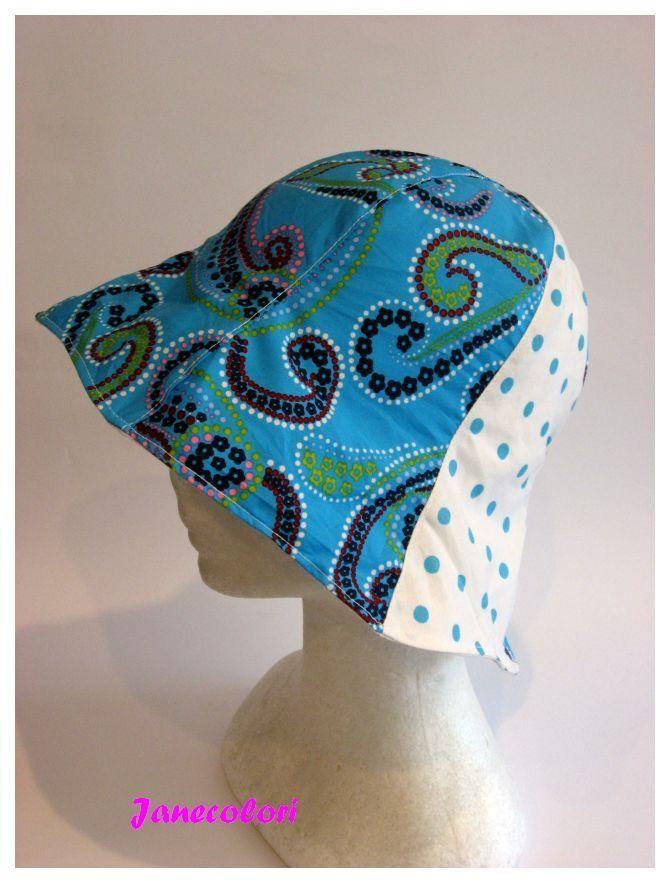 cappello estivo da sole, a campana, reversibile, fantasia turchese ,a pois, sun hat girl, chapeaux soleil femme : Cappelli, berretti di janecolori-accessoires