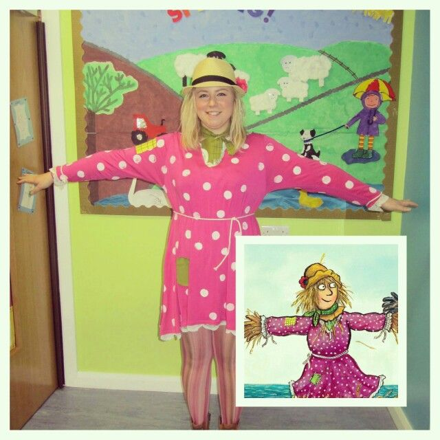 "My homemade Betty O'Barley costume for World Book Day 2016. The children in my nursery class absolutely love ""The Scarecrows Wedding by Julia Donaldson"" so I thought it would be great to dress up as her and they thought it was brilliant"