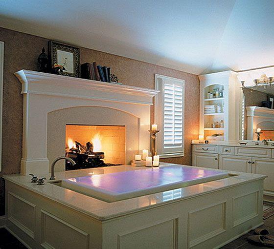 Infinity bath tub with fireplace? Yes Please!Bathroom Design, Ideas, Bath Tubs, Fireplaces, Bathtubs, Dreams House, Dreams Bathroom, Bubbles Bath, Master Bathroom