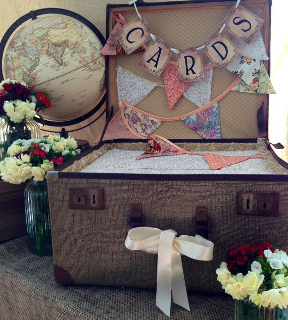 decorated vintage suitcase ready to receive cards at your wedding, engagement, or event. Large Wishing Well Vintage Suitcase Card Box  Wedding by LeeLoves, $125.00