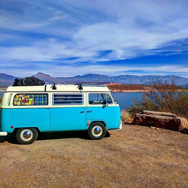 Liked on InstaGram: #tbt to our time at Roosevelt Lake in Arizona. Man I miss the road but work is in full swing on our new home. Couldn't really be happier right now. Let's see where what life has in store for us now. #baywindow #baypride #aircooled #volkswagen #kombi #type2 #westfalia #vwbus #vwcamper #drivethem #thebustravelers #travel #vwlife #buslife #babe
