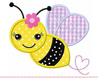 Bumble Bee Applique 4x4 5x7 6x10-Machine por CherryStitchDesign                                                                                                                                                                                 Más