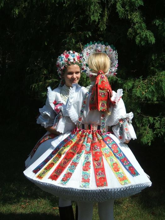 Europe   Portrait of two young women wearing tradtinoal clothes, Buják, Hungary