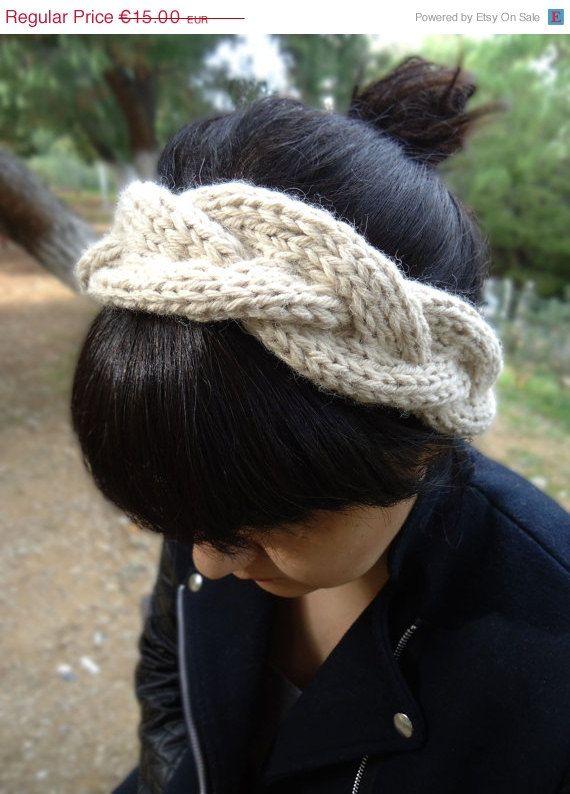 Hand knit womens headband knitted wool headband by AlkistiKnits #headband #womensaccessories #earwarmers #headwrap #winteraccessories #knittedheadband