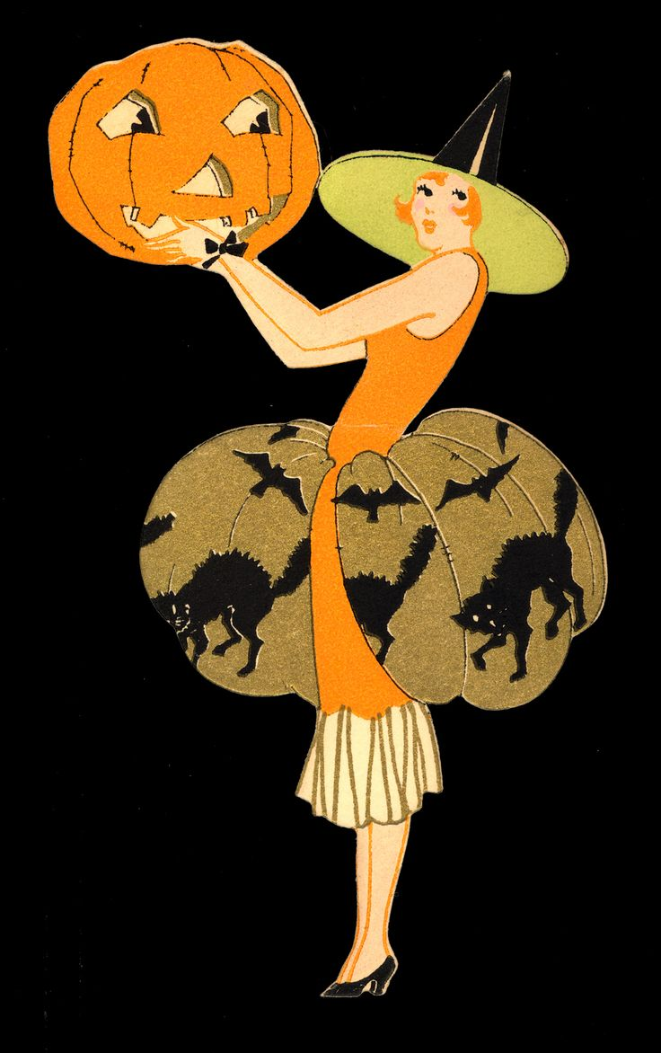 Vintage halloween window decorations - Here Is Another Great Halloween Tally Card From The Mid 1920s By The Gibson