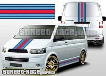 VW Transporter T5 Martini racing stripe graphics, digitally printed & laminated.