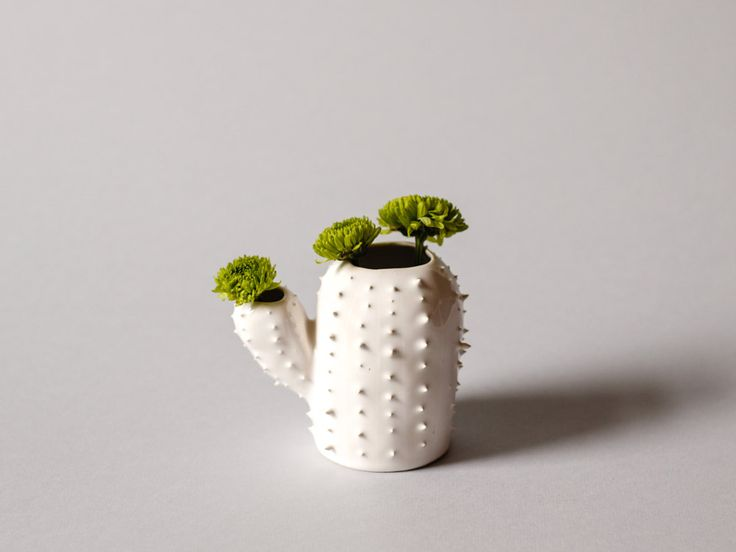 Modern small spiky white vase / cactus shaped sucullent planter / flower pot / green / by OlisCupboard on Etsy