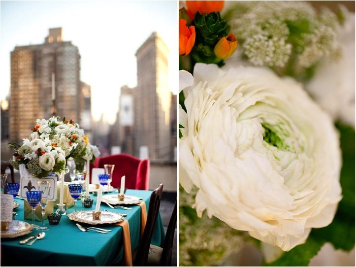 Like the idea of turquoise linens with bright red chairs!  Where can we find bright red, plush chairs?