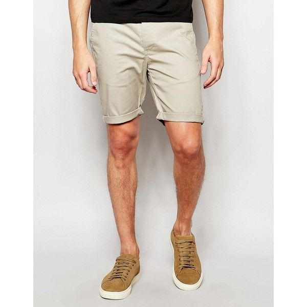 ASOS Skinny Chino Shorts In Light Green (1.970 RUB) ❤ liked on Polyvore featuring men's fashion, men's clothing, men's shorts, green, mens chino shorts, tall mens clothing, tall mens shorts and asos mens clothing
