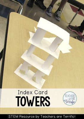 STEM Challenge: The first graders loved building, but their towers tended to spread sideways along the tables rather than getting very tall. They also quickly discovered that using a card between layers came them platforms to keep building on.