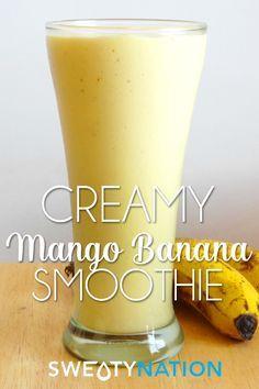 Creamy Mango Banana Smoothie - a deliciously thick gluten-free smoothie recipe that tastes as good as a milkshake!