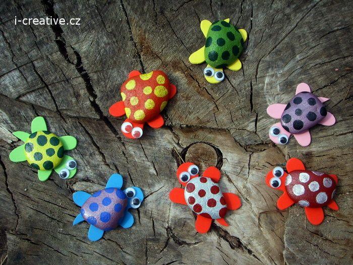 Želvy z kamínků a pěnovky moosgummi