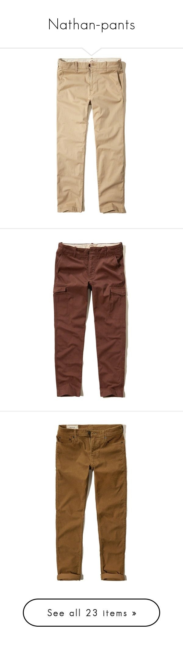 """Nathan-pants"" by those-families ❤ liked on Polyvore featuring mackinnonsiblings, men's fashion, men's clothing, men's pants, men's casual pants, light khaki, mens elastic waistband pants, mens chino pants, mens slim fit chino pants and mens twill pants"