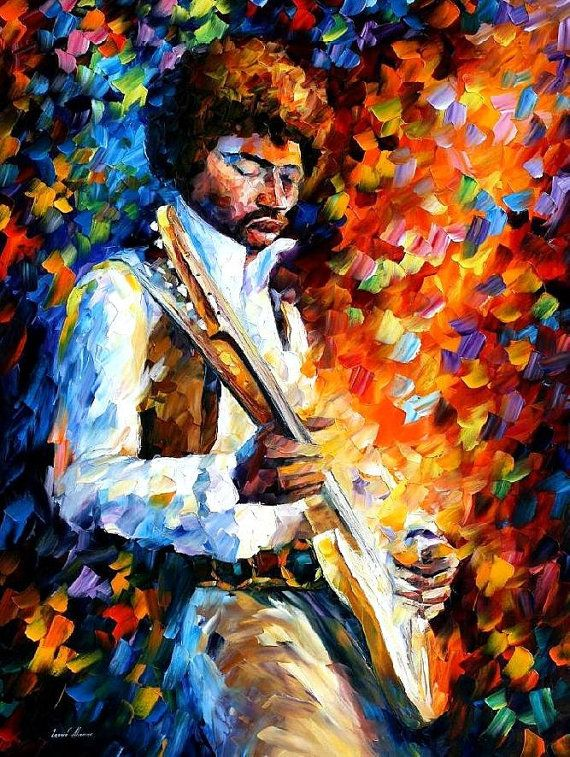 Jimi Hendrix — PALETTE KNIFE Oil Painting On Canvas by AfremovArtStudio, $339.00