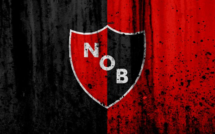 Download wallpapers 4k, FC Newells Old Boys, grunge, Superliga, soccer, Argentina, logo, Newells Old Boys, football club, stone texture, Newells Old Boys FC