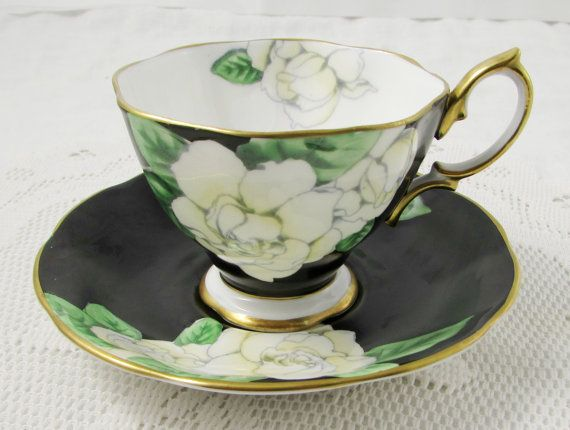 "Royal Albert Black Tea Cup and Saucer with White Flowers, ""Gardenia"", Vintage Bone China"