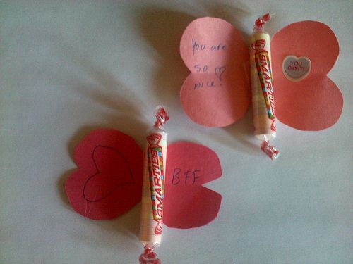 Simple Valentine Butterfly Craft for Kids with Smarties