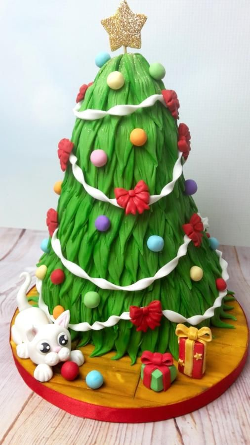 Christmas Tree Cat Astrophe By Jojoscupcakemadness Holiday Cakes
