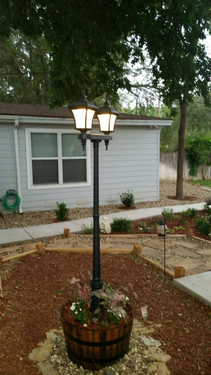 Wood outdoor lamp post - Diy Solar Lamp Post In Whiskey Barrel