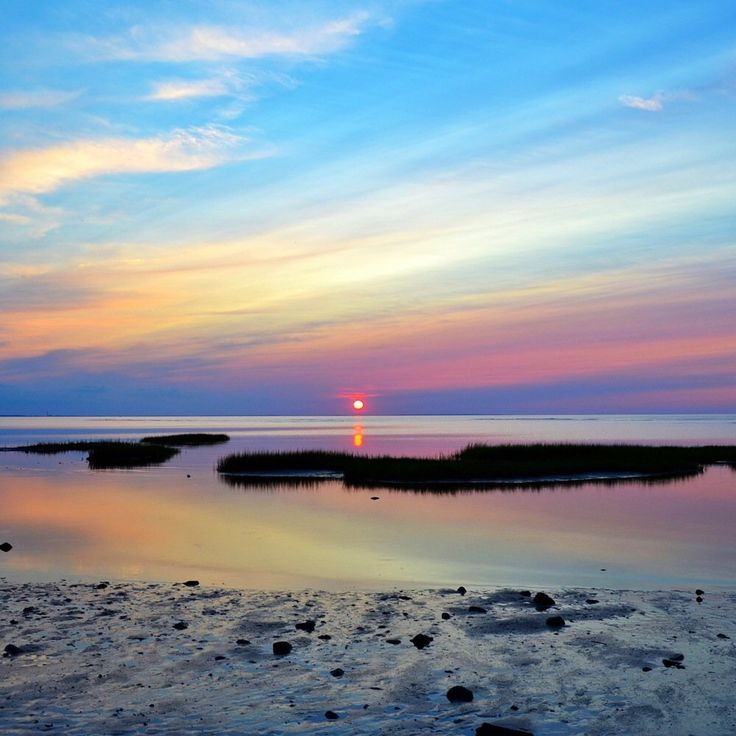 Chapin Memorial Beach - Dennis, MA, United States. Sunset reflecting in the tide pools.