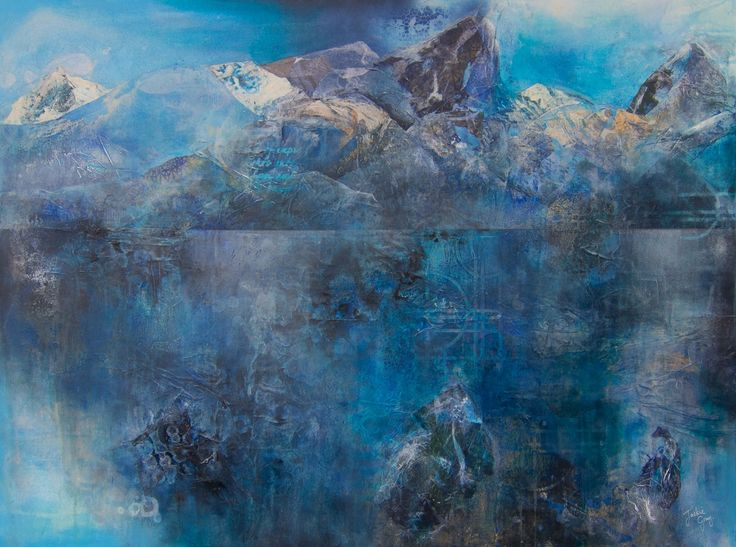 """""""Range of Wisdom"""" mixed media painting by Jackie Gray.  Mountains, blue, water, landscape, seascape, ice."""