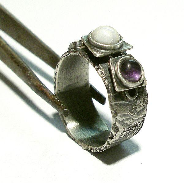 Srebrny Pierścień|Ametyst|Agat|Silver Ring|Handmade|By Norman Man Jewellery