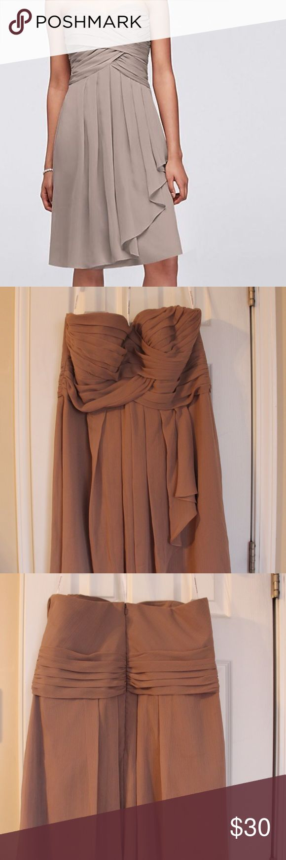 Bridesmaid Dress-DARKER THAN IMAGE Short Crinkle Chiffon Dress with Front Cascade- Color Latte from David's Bridal. Worn once. Very comfortable! David's Bridal Dresses Wedding