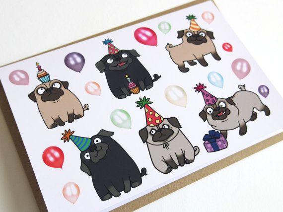 Pug parti carte de voeux d'anniversaire  joyeux par Pugsnkissesuk