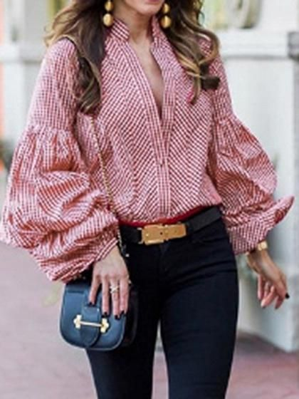 c664eed7cec Red Plaid V-neck Puff Sleeve Chic Women Shirt