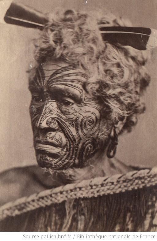 Chef maori au visage tatoué, 1860-1889