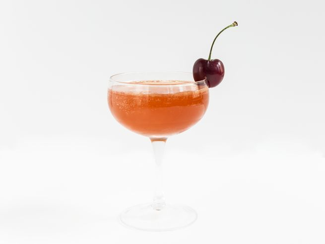 This smoky-sweet cherry cocktail from Meaghan Dorman of Raines Law Room is punched up with dark rum and softened with a long pour of Champagne.
