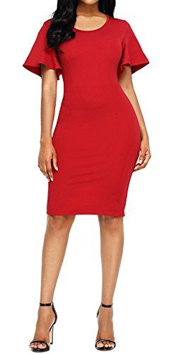 Summer Pencil Dresses with Ruffle Sleeves