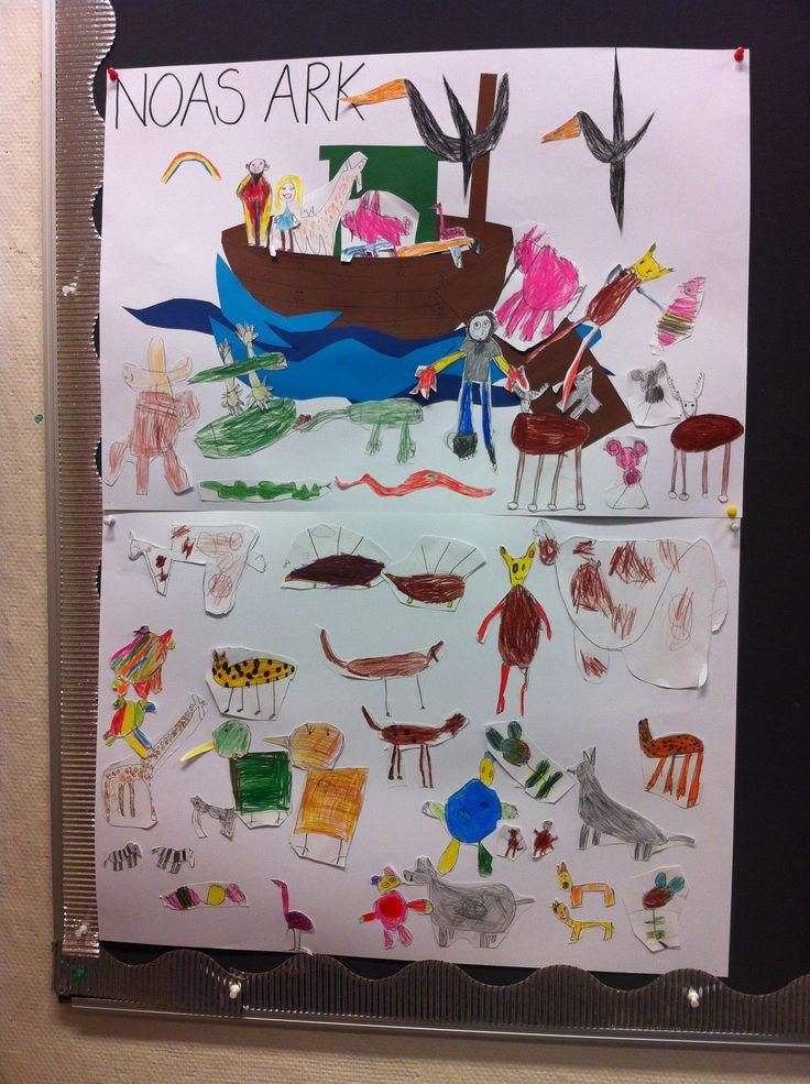 RLE: Vi jobbet med Noas Ark.  Jeg lagde arken til Noa. Elevene fikk ansvar for å lage dyr og familien til Noa som skulle være med ombord.  De lagde tegninger som ble limt på til en felles colage.    Working with religion. Here, working with Noahs Arch. I made the arch the kids made the animals and Noas family. They glued the drawings on the big poster. A fun colage.
