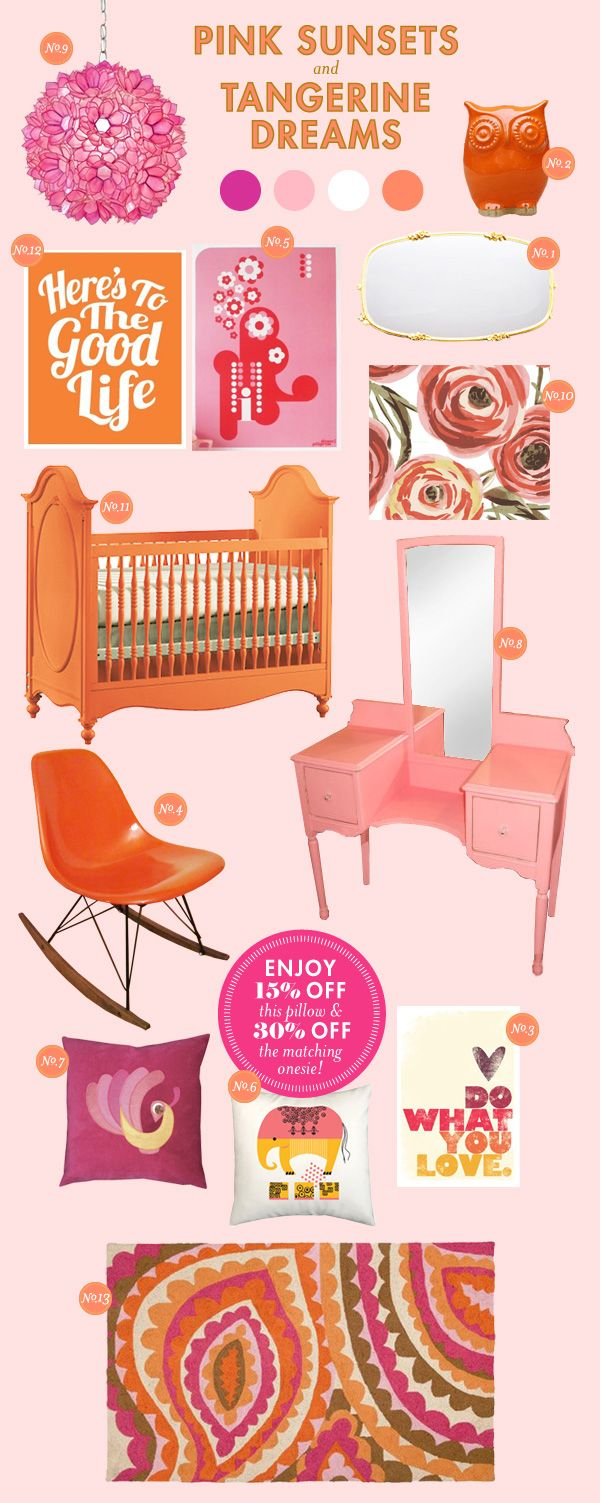Love orange and pink for a little girl. I would go for natural colored wood for the furniture, but this is great inspiration.