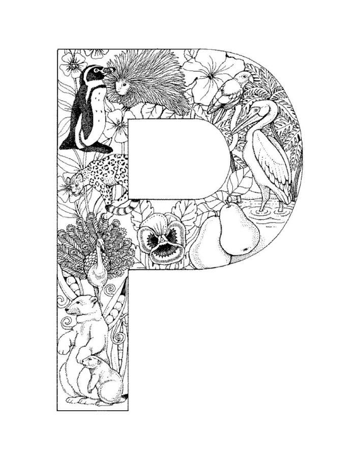 alphabet coloring pages p