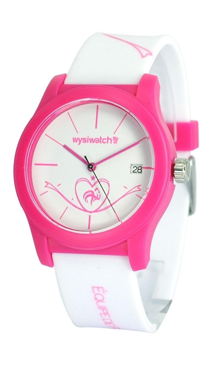 """La montre """"Equipe de France version femme"""" est toute rose ! Cette montre est pour vous mesdames, fans de football et de l'équipe de France. $71.59"""