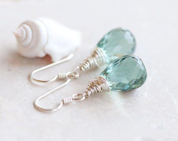 Groene Quartz Earrings, bleke groene Gem steen oorbellen, Sterling Silver Wire Wrapped oorbellen, groene Drop Oorbellen, Sparkly groene oorbellen