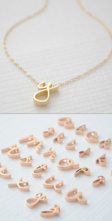 Lower Case Initial Necklace in Rose Gold by Olive Yew ♥ you could get one of these with a D on it!