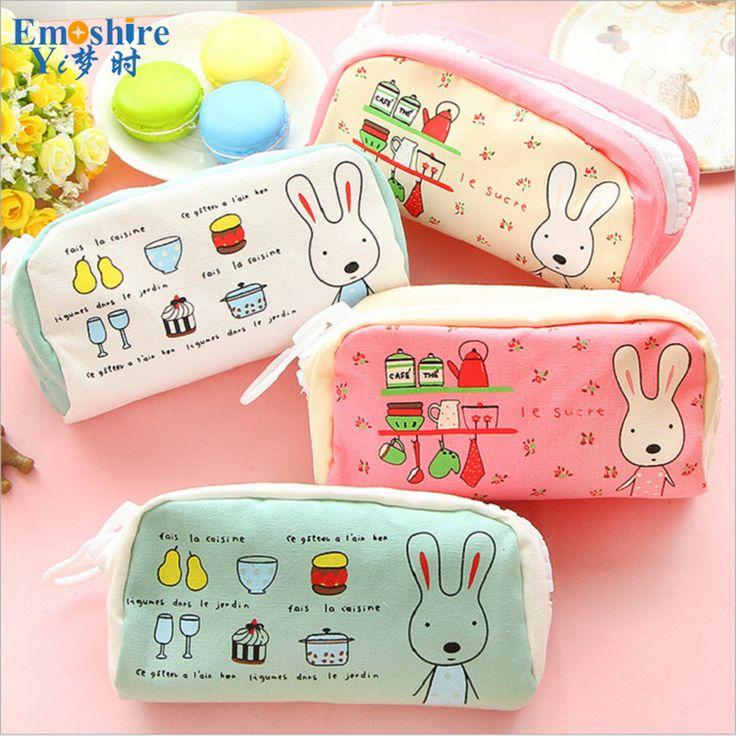 Big Zipper Multi-Functional Large Capacity Pencil Case Pockets Students Rabbit Girls Pencils Case Stationery Bag Supplies B140