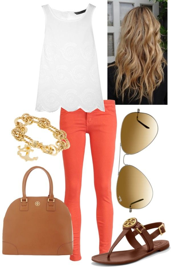 """Coral Skinny Jeans"" by l-woke-up-near-the-sea ❤ liked on Polyvore"