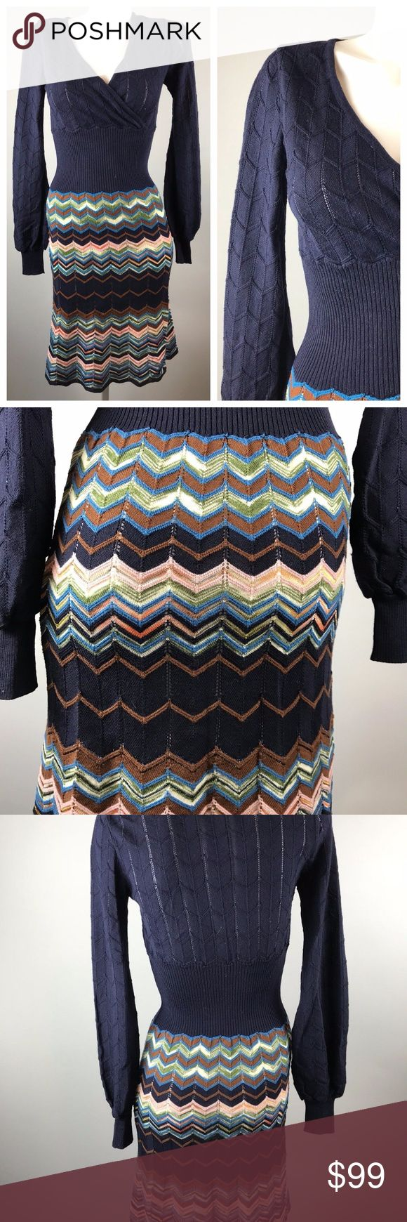 "Missoni Knit Dress Navy Chevron Dress Long Sleeve Missoni Knit Dress Navy Chevron Dress Long Cuff Sleeves Wool Blend Size 2   Tagged size 2 but please see measurements to ensure a proper fit. Measured flat unstretched. Armpit to armpit  18.5""  Waist 12""  Length  42""  Sleeve 28""  Please see photos. Ask any questions before purchasing. Missoni Dresses Long Sleeve"
